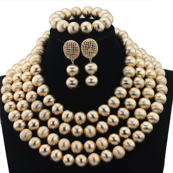 Fantastic Dubai Gold Wedding Bride Jewelry Set Indian Bridal Beaded African Jewelry Sets Hot Free Shipping WD628