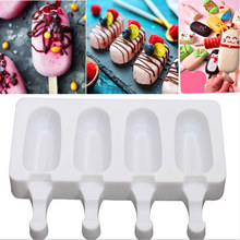 Ice Cream Mold Silicone White 4 Hole 2 Styles Easy Release Molding Regular Polygon Pops Food Grade Tool