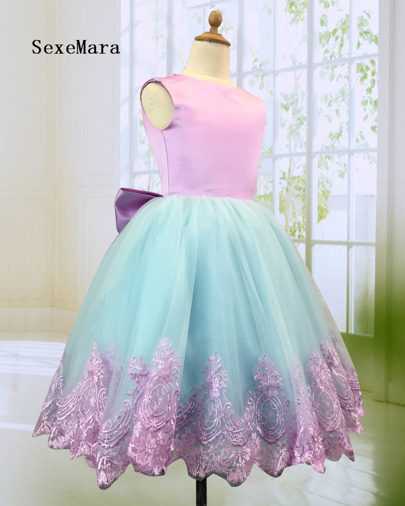 Real Picture Flower Girl Dress with Bow 2018 Ball Gown Girls Birthday Party Gown Dresses Pageant GownReal Picture Flower Girl Dress with Bow 2018 Ball Gown Girls Birthday Party Gown Dresses Pageant Gown