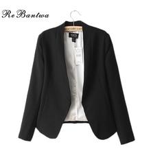 Rebantwa New Fashion Small Blazer Women Autumn Open Stitch Suit Blazers Causal Slim Female Jackets Solid Clothing White Outwear