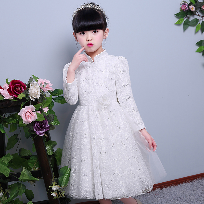 New Hot Luxury Children Girls Jacquard Lace Dress White Sequined Lace Sling White Dresses For Evening Party Wedding Clothing