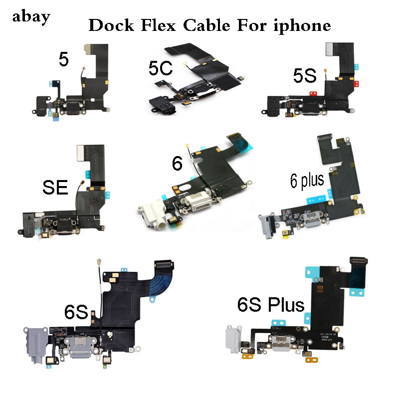 New Charger Charging Port USB Dock Connector Replacement For IPhone 5 5C 5S 6 6S 7 Plus Headphone Audio Jack Flex Cable