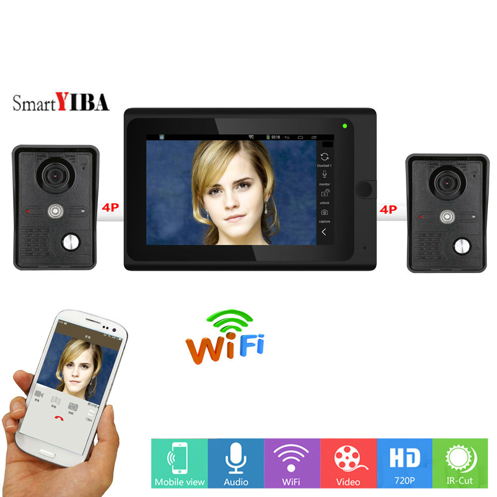 SmartYIBA Video Intercom 7 Inch Monitor Wifi Wireless Video Door Phone Doorbell Entry 2 Camera 1 Monitor System Android IOS APP