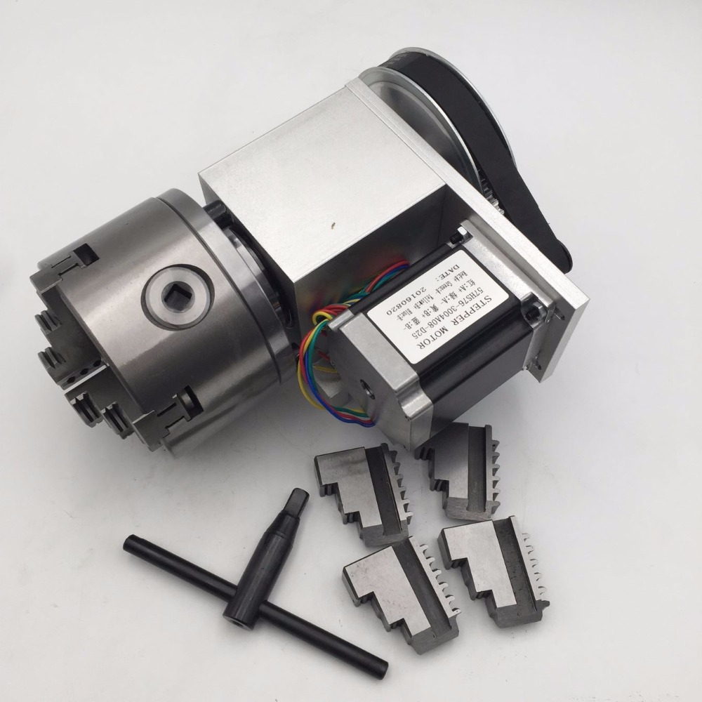 Hollow Shaft Rotary 4th Axis Tailstock 4-Jaw Lathe Chuck 100mm Nema23 Stepper Motor Rotational Axis For CNC Router Engraver