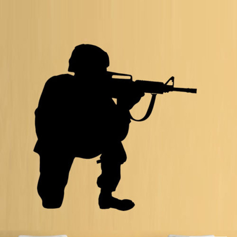 Us 614 34 Offsoldier Army Cool Removable Wall Stickers For Nursery Kids Room Wallpaper Vinyl Waterproof Decals Bedroom Home Art Murals L18 In Wall