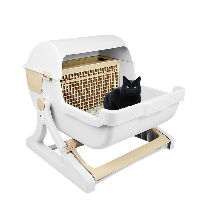 Extra Large Pet Cats Semi-automatic Semi-enclosed Litter Box Cat Toilet Training Kit Sandbox Bedding Bedpans Pet Mascotas Kitten 翻轉 貓 砂 盆