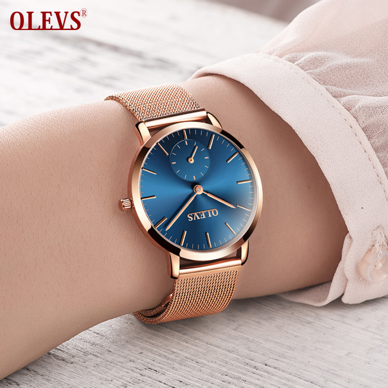 OLEVS Brand 2018 Hot Sale Luxury Women Watch Ladies Fashion Gold Steel bracelet Quartz Watches Casual Lady Waterproof Wristwatch hollow brand luxury binger wristwatch gold stainless steel casual personality trend automatic watch men orologi hot sale watches