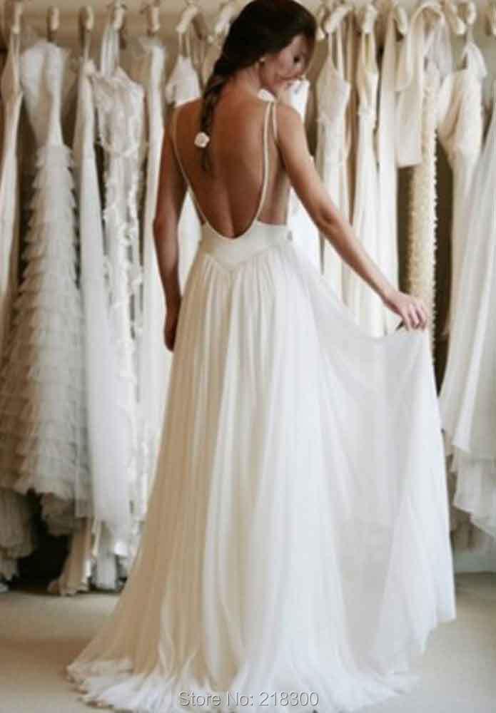 Beach Lace Wedding Dresses Open Back