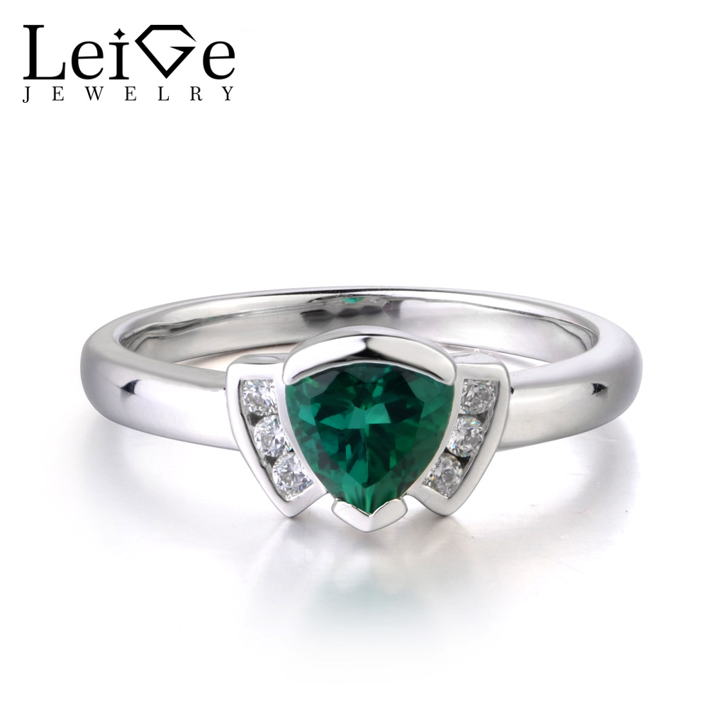 Leige Jewelry May Birthstone Emerald Ring Bohemia Style Wedding Bands Trillion Shape Fine Jewelry 925 Sterling Silver For WomanLeige Jewelry May Birthstone Emerald Ring Bohemia Style Wedding Bands Trillion Shape Fine Jewelry 925 Sterling Silver For Woman