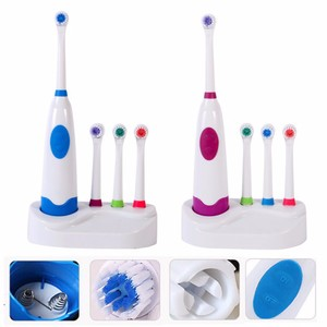 Vbatty 1 Set Battery Operated Electric Toothbrush Waterproof Dental Care Revolving Toothbrush Heads + 3 Nozzles Oral Hygiene
