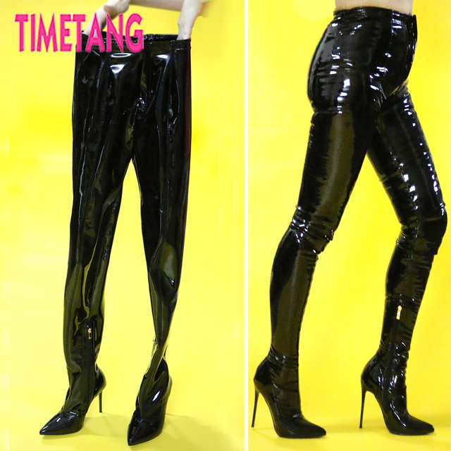 be1d89d763c TIMETANG European T-stage Hot Sexy Women Bootcuts Pointed Toe Thigh High  Boot Pants Night Club Runway Pole Dancing Waist High