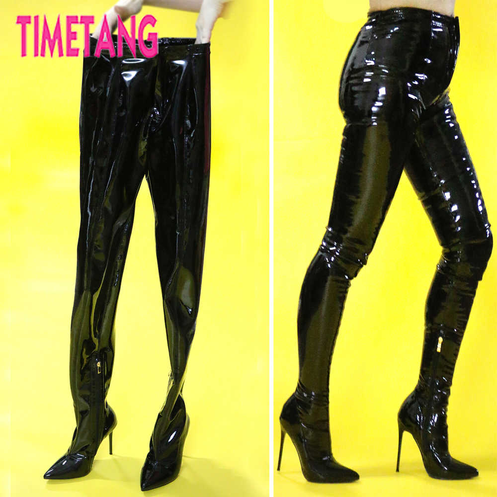 d2dfb169d4b3 TIMETANG European T-stage Hot Sexy Women Bootcuts Pointed Toe Thigh High  Boot Pants Night