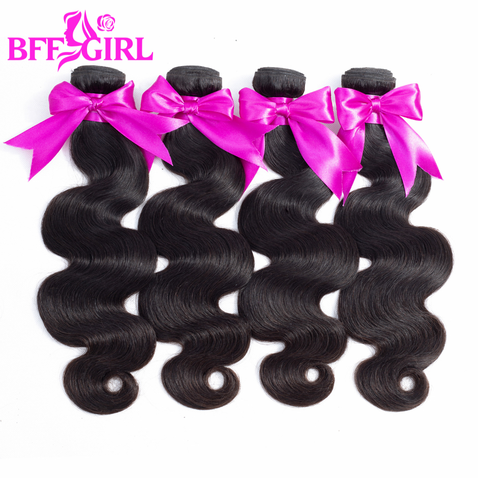 BFF GIRL Peruvian Body Wave Hair 4 Bundles Deal 3.5oz/pc 10-26 Inch Natural Black Color Non Remy Human Hair Weaves Extension