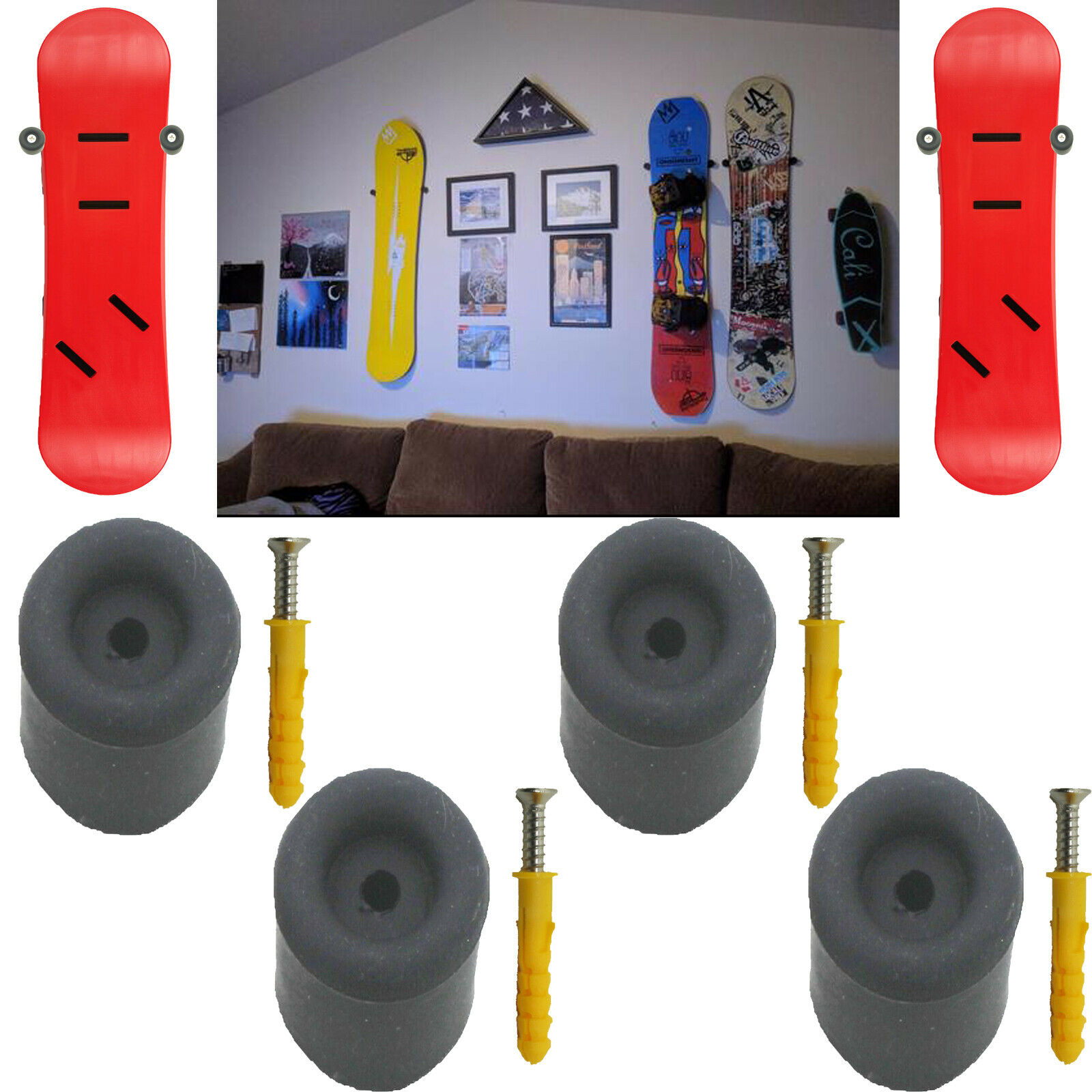NEW Snowboard Hanger Skateboard Holder Longboard Display Storage Rack Wall Mount