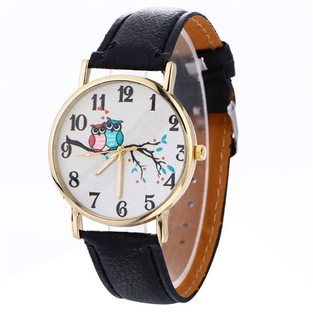 Aimecor Watches women luxury brand Fashion Cute Owl Pattern Neutral Leather Quar