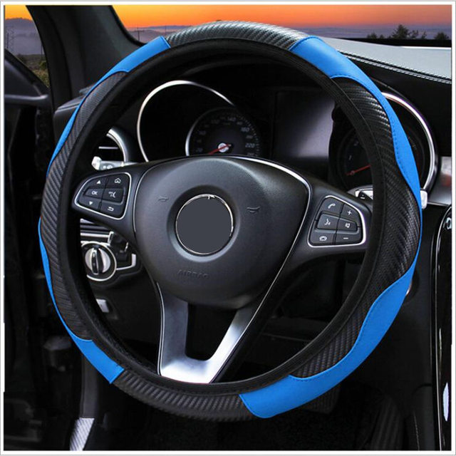 100% Wear resistant Leather Universal Car Steering wheel Cover 36CM 39CM Car styling Sport Auto Steering Wheel Covers Anti Slip