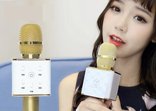 Libre shoping q7 Mini Reproductor de Karaoke Micrófono de Condensador con Micrófono Altavoz Inalámbrico Ordenador Cantar KTV Grabar para Teléfonos Inteligentes