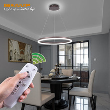 ISRAMP Modern Pendant Lighting 36W Super Bright Dimmable Hanging Light for Living Room Dining Height Adjustable UL Listed