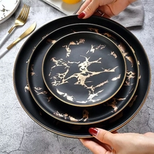 6 or 8 or 10 inch Gold Inlay Marble dinner plate Wholesale Unique matte black and white Dinnerware Set 4 pcs set 6 or 8 or 10 inch marble dinner plates ceramic tableware dinner set marble dinnerware