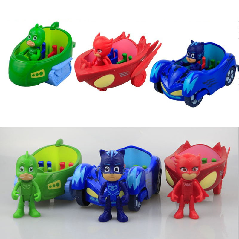 Big Size 3pcs Cars and 3pcs dolls Characters Catboy Gekko Cloak Action Figure freddy Toys Boy Gift  Birthday Christmas new arrival five nights at freddy s fnaf action figures toys bonnie foxy freddy fazbear bear pvc figure dolls toys for children