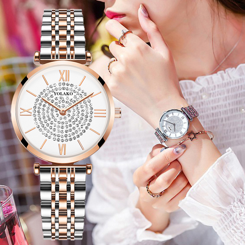 Gypsophila Diamond Design Women Watches Fashion Silver Round Dial Stainless Steel Band Quartz Wrist Watch Gifts Relogiosfeminino