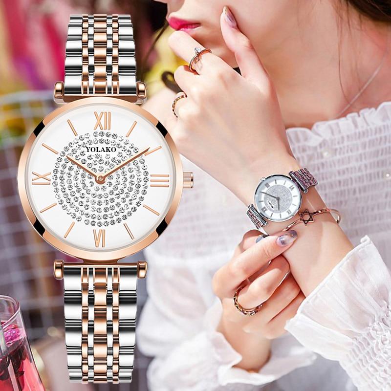 Gypsophile diamant Design femmes montres mode argent cadran rond en acier inoxydable bande Quartz montre-bracelet cadeaux relogiosfeminino