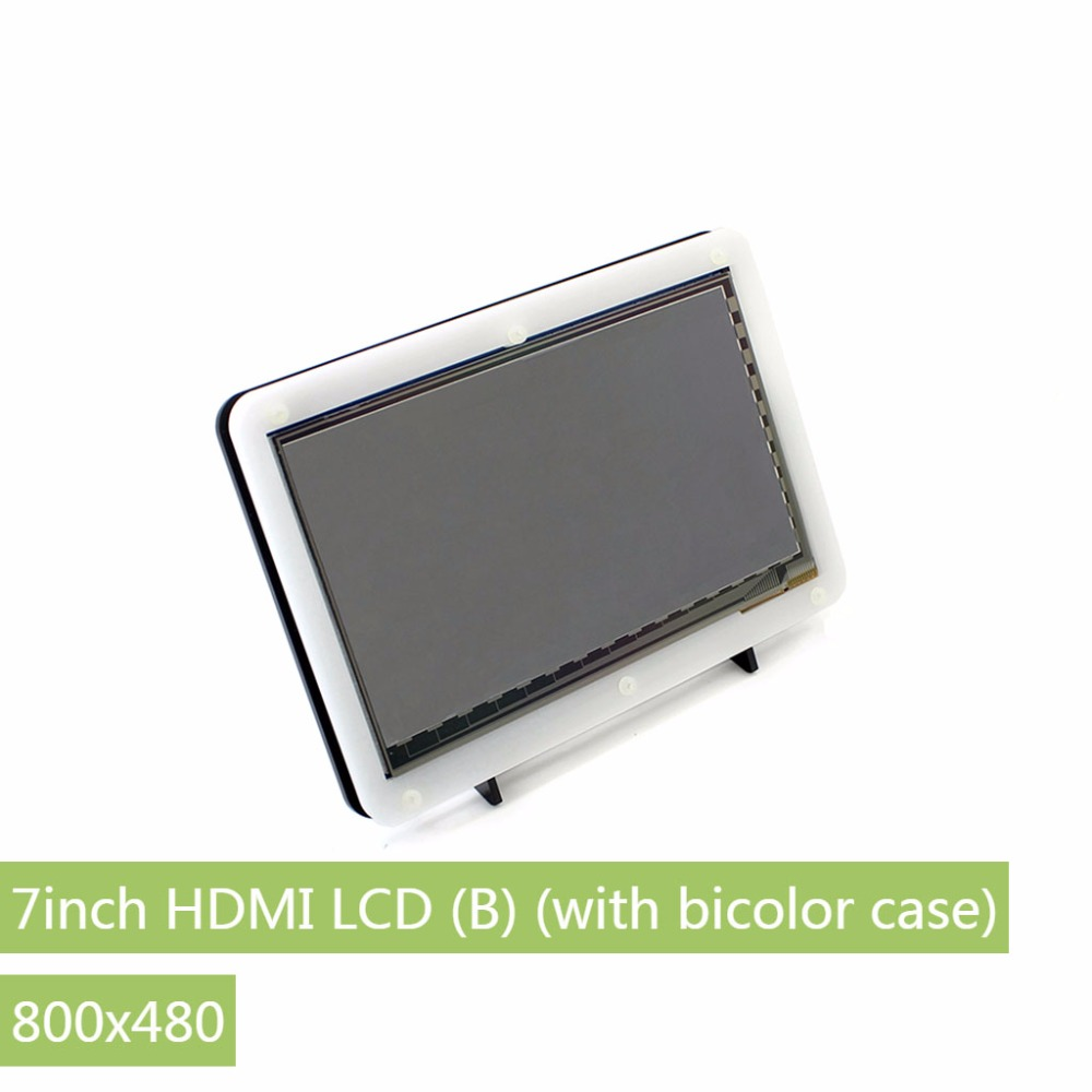 Parts 7inch HDMI LCD (B) (with bicolor case) 800*480 Capacitive Touch Screen for Raspberry Pi 3/2 B& Banana Pi Support Various S 4 inch hdmi lcd ips screen 800 480 pixel for raspberry pi model b b raspberry pi 2 model b