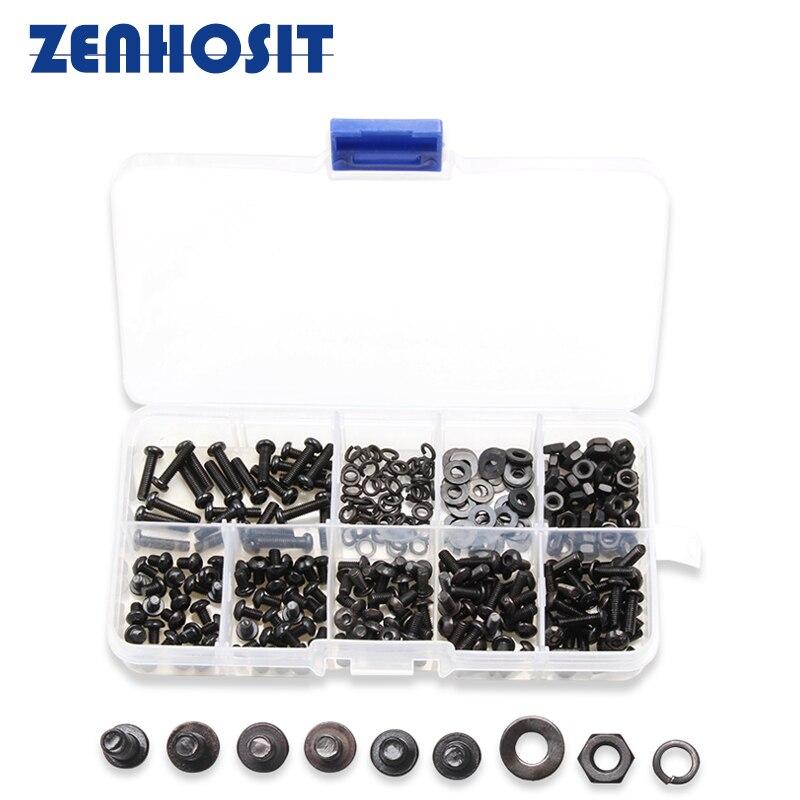 300pcs/box M3 Black Round Head Hexagon Socket Screws Carbon Steel Bolts Nuts Kit Flat Spring Washers Gasket Hardware Accessories цена
