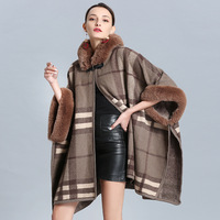 SWONCO Wool Coat Women Winter Long Clock Winter New 2019 Plaid Female Casual Coats Ponchos And Capes With Hooded Fur Cape Women