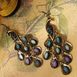 Min.order is $10 (mix order) Fashion Jewelry 2012, Mix Wholesale Vintage Peacock Drop Earrings E0373067 G7