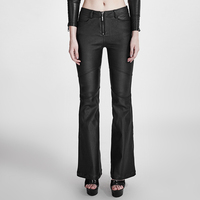 Punk Gothic Women Adhesive Bell Bottomed Pants Fashion Black Slim Long Trousers Casual Flare Pants