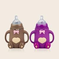 240ML Baby Mini Portable Feeding Bottle Newborn Kids Nursing Care Feeder Fruit Juice Milk Silicone Nipple Pacifier Drink Bottle