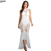 Black Semi Sheer Floral Lace Panel Bodycon Mermaid Dress Women Sleeveless O Neck Zipper Back 2