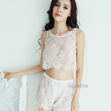 2pc Set embroidery Lace Sexy Lingerie Transparent Women negligee sleepwear female nightwear
