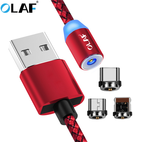 OLAF Magnetic Cable For Lightning Micro USB Type C Phone Cable For iPhone X 8 7 6 plus Xiaomi 1m 2A Fast Charge Magnet Charger