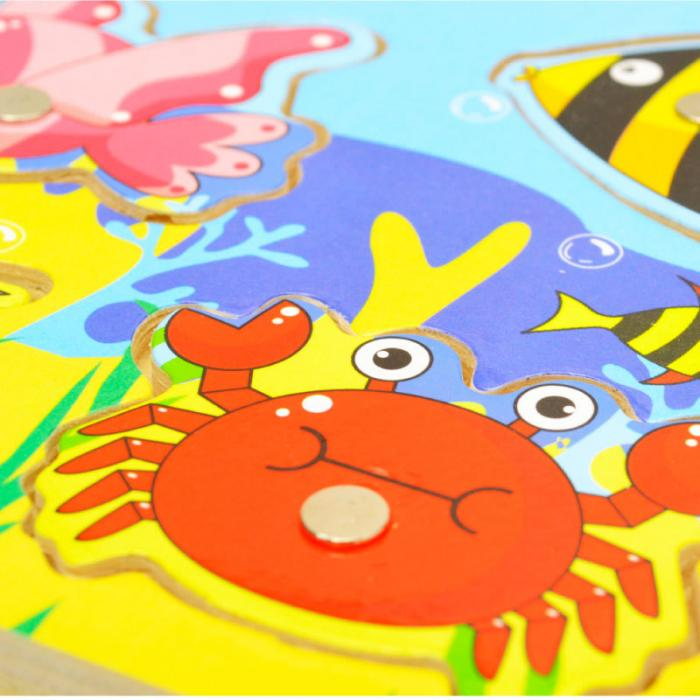 New Wooden Magnetic 3D Jigsaw Children Educational Fishing Puzzles Baby Toys Wooden Funny Game Toy For Kids Baby Gifts BM88 5