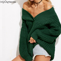 M H Artemis Sexy Off The Shoulder Oversized Sweater Women Warm Thick Long Top Winter V