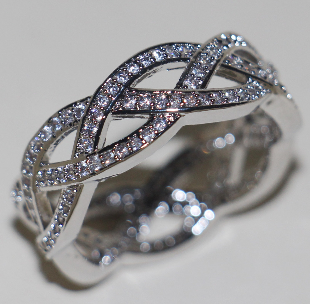 Victoria Wieck Luxury Jewelry 18Kt White Gold Filled Clear 5A CZ Wedding Engagement Cross Women Band Finger Ring Gift Size 6-10