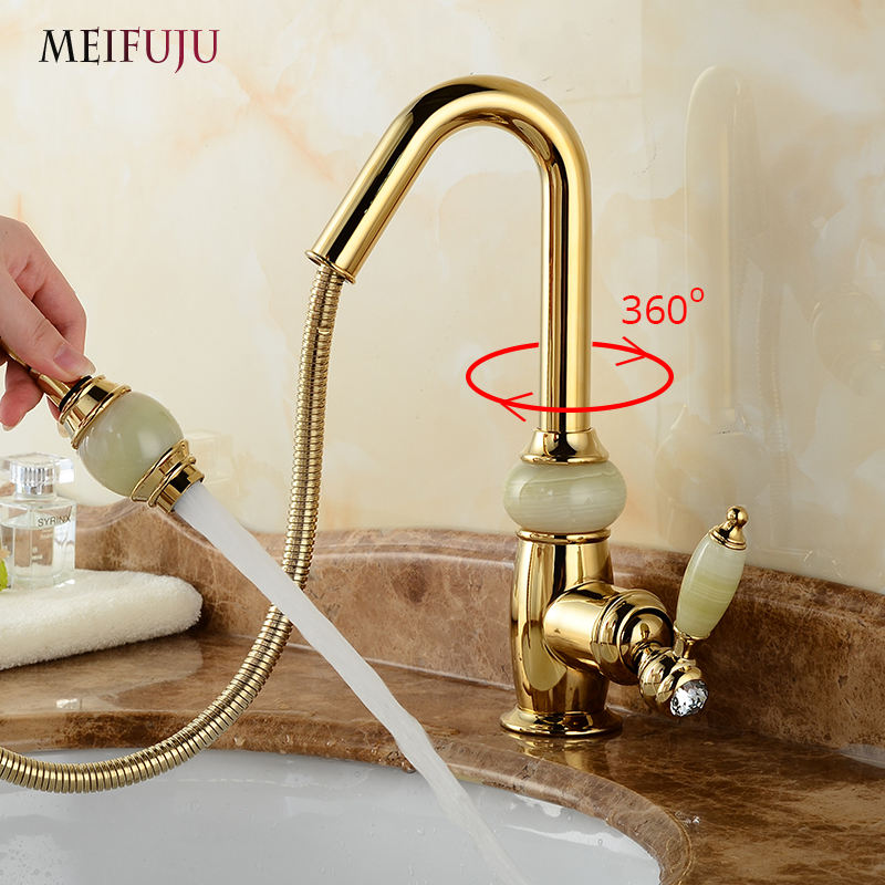 Luxury Basin Faucets Pull Out Gold Bathroom Sink Crane Copper Sink WC Mixer Taps Hot and Cold Deck Mounted Bathroom Faucet flg free shipping pull out spray gold kitchen faucet hot and cold vegetables basin rotating taps all copper water mixer c003g