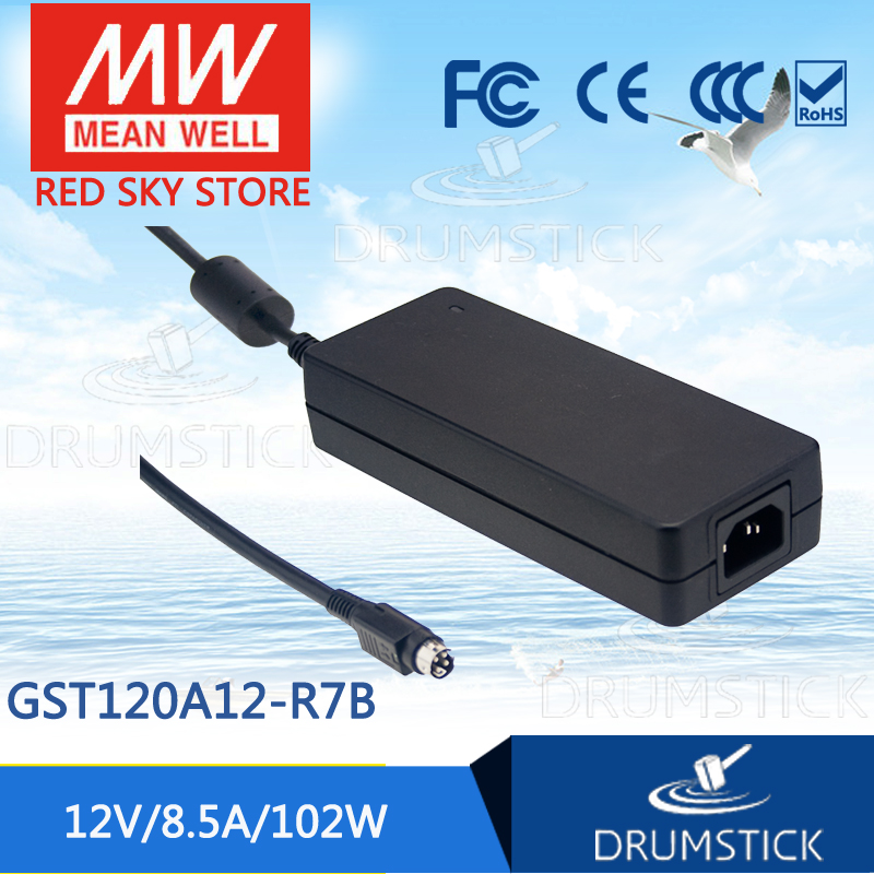 Genuine MEAN WELL GST120A12-R7B 12V 8.5A meanwell GST120A 12V 102W AC-DC High Reliability Industrial Adaptor genuine mean well gsm60b12 p1j 12v 5a meanwell gsm60b 12v 60w ac dc high reliability medical adaptor