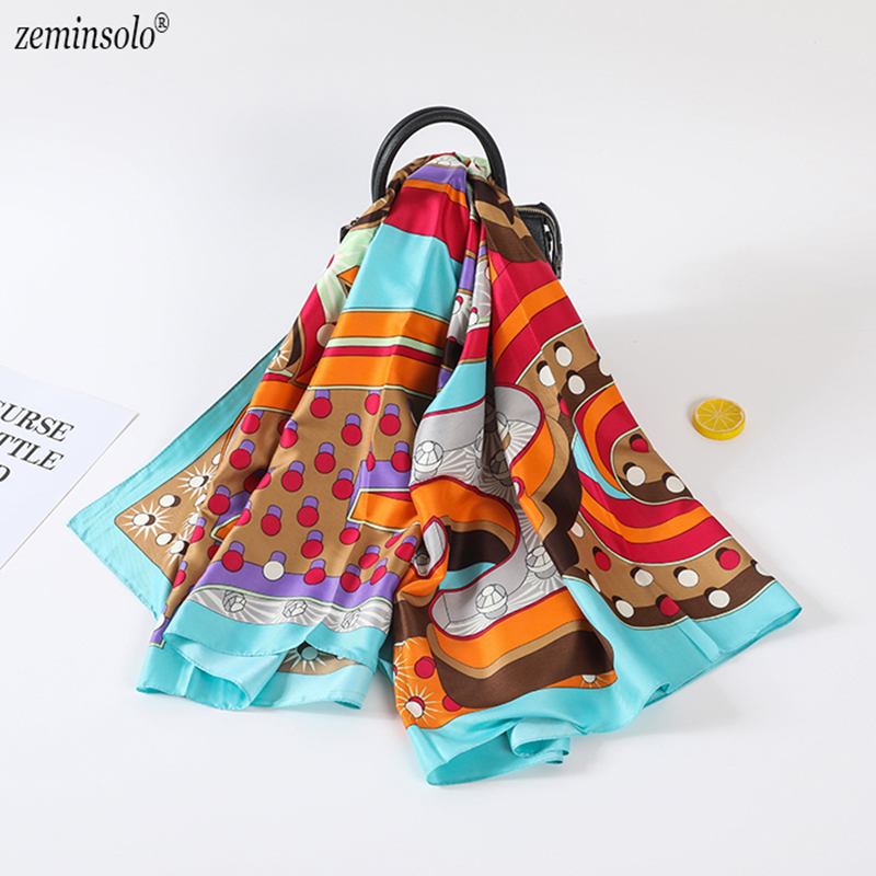 130*130cm Square   Scarf   Bandana 2019 New Fashion Women Silk   Scarf   Luxury Brand Hijab Shawls Foulard   Scarves     Wraps   For Ladies