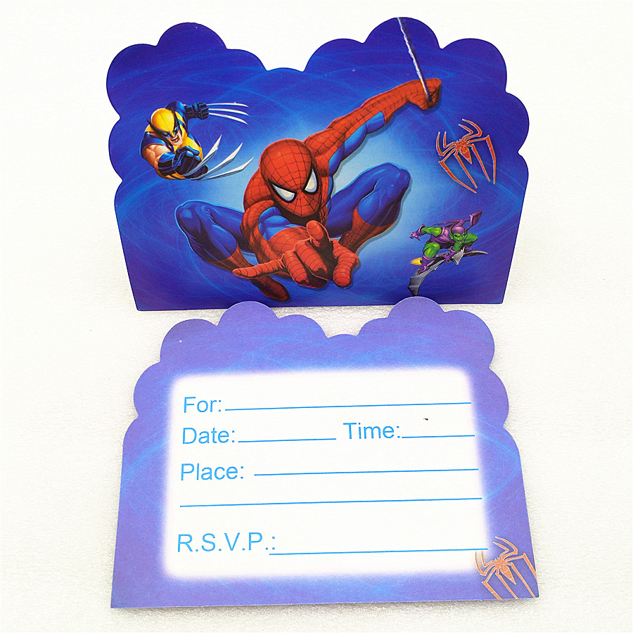 Us 1 46 25 Off 10pcs Spiderman Invitation Cards For Boy Kids Birthday Decoration Spiderman Party Supplies Baby Shower Anniversaire Spider Man In