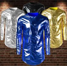 Bright bronzing shirt men long sleeve teenage korean double-breasted mens personality stage singer dance blue gold