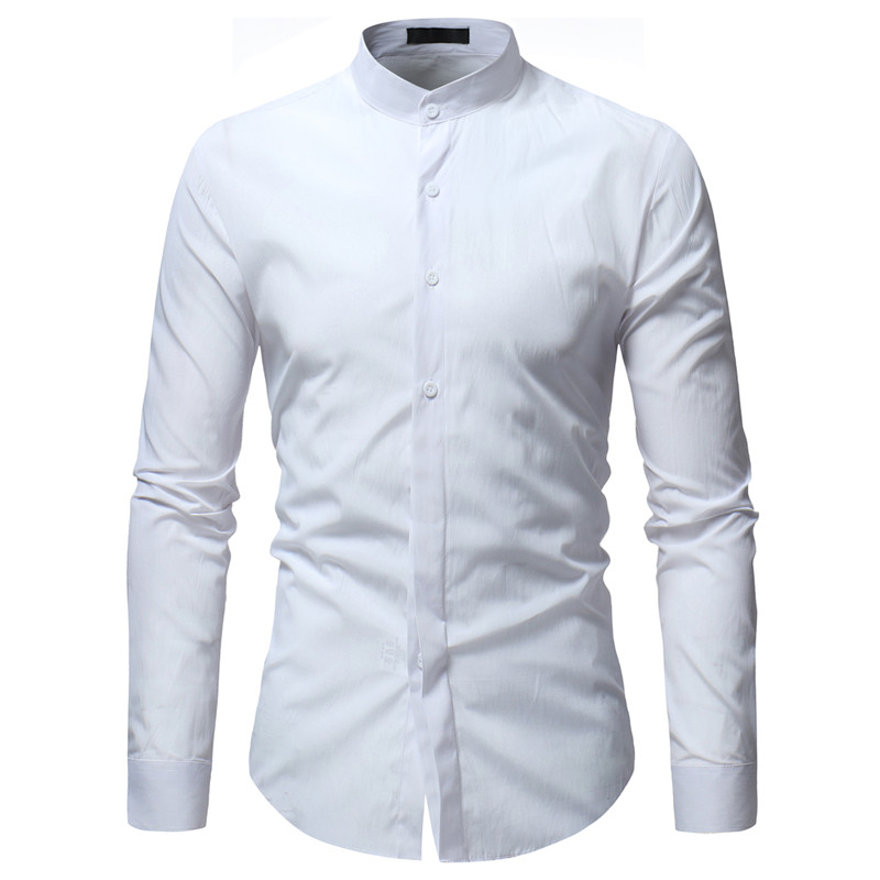 2019 Spring New Color Contrast Collar Collar Access Control Strip Men's Classic Casual Slim Long-Sleeved Solid Color Shirt