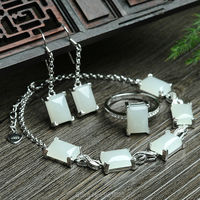 925 silver Natural White HeTian Stone Gem Stone Inlay Lucky Bracelet Earring Ring Set + certificate Fashion Fine Jewelry