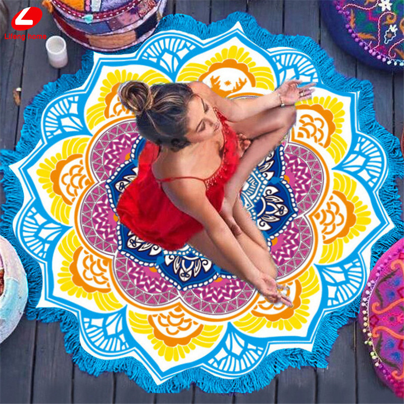 2017 thin Yoga mat 150*150cm colorful Lotus flower shawl seven color round beach towel blue yellow Bohemia Tassel seaside towel  yoga mat yellow 2017 thin font b Yoga b font font b mat b font 150 150cm colorful Lotus