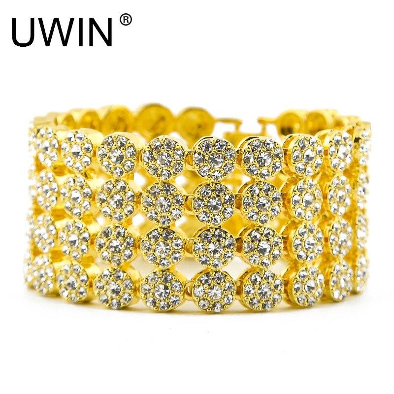 UWIN Rock Hip Hop Men Bracelet Chain Fashion Punk Jewelry Iced Out 4 Row Luxury Bling CZ Rhinestone Gold Link Bracelet Bangle 8 цена