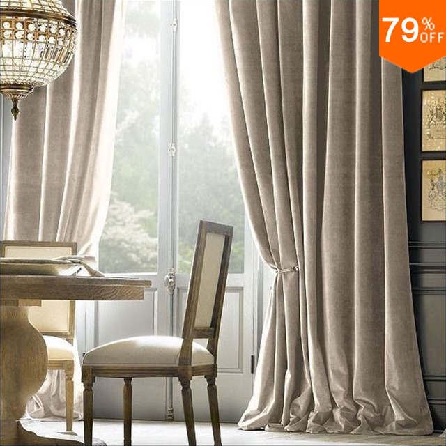 Best 7 Star Hotel Velvet Curtain Pure Color Cortina Silky Tende Firany Rideaux Extreme