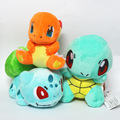 2017 Brand New 3Pcs/Lot Plush Toy Bulbasaur Charmander Squirtle Plush Doll Figure Collectible