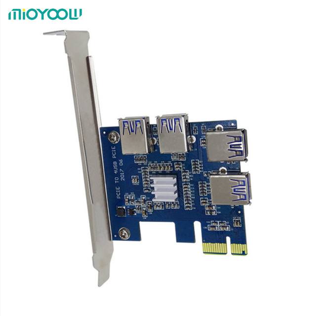 PCI-E PCI Express USB 3.0 1 to 4 Multiplier Card Express For DOS Linux Windows 7 8 10 1x to 16x Extender Riser Card Adapter PCIE
